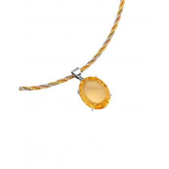 Facet Citrine pendant set in Sterling on a Sterling Gold Plate collier