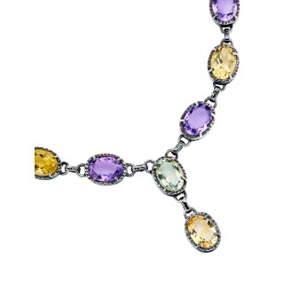 Amethyst, Citrine, Green Topaz, 10 stone necklace