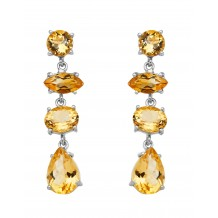 4-facet Citrine Stones Earrings