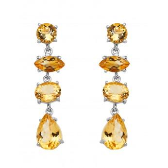 4-facet Citrine Stones Earrings