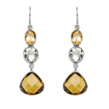 Facet Citrine, Green Topaz, Brandy Quartz tear drop Earrings