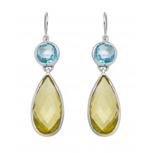 Round facet Blue Topaz with Lemon Quartz facet Earrings