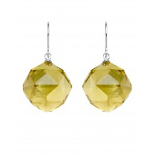 Facet Lemon Quartz Balls With Fine Sterling Hook Earrings