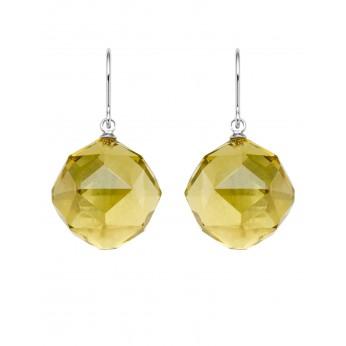 Facet Lemon Quartz Balls With Fine Sterling Hook Earrings
