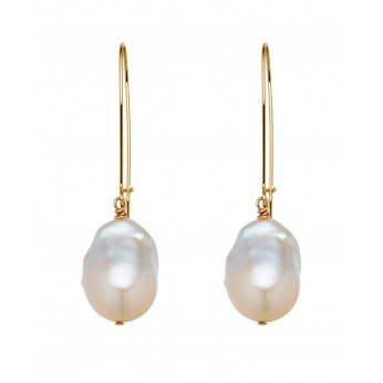 Long fine 14ct Gold filled hooks with Baroque Freshwater Pearl drop Earrings