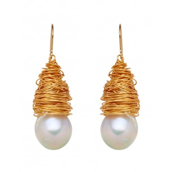 Baroque Freshwater Pearls wrapped in Gold Plate wire, 14ct Gold filled hooks.