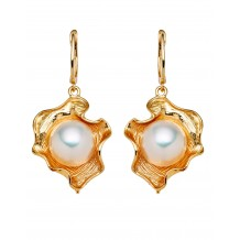 18ct Gold Plate Flowers with Pearl centre Earrings