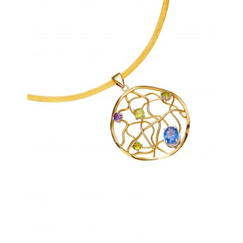 Gold plate on Sterling collar with removable gold plate pendant with Amethyst, Peridot, Blue Tanzanite.
