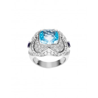 Facet Blue Topaz ring with 2 Amethysts, Natural white Zircons