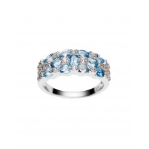 Band ring with Aquamarines and Natural White Zircons