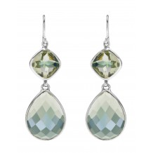 Pale green Topaz double drop earrings set in Sterling Silver
