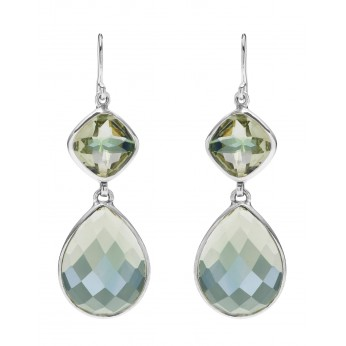 Pale green Topaz double drop earrings set in Sterling Silver