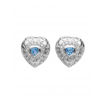 Etched Sterling heart stud earrings with Blue Topaz heart centre. Sterling posts.