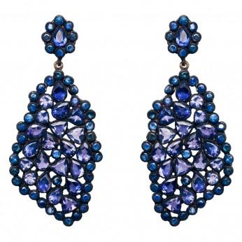 Midnight Sapphire & Tourmalines Drop Earrings