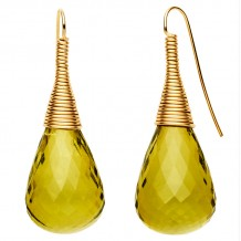 Facet Green Amber Earrings