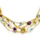 Gold Plate Sterling Silver Collar with Amethyst, Citrine, Blue and Green Topaz
