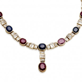 Ruby & Sapphire Collar With White Topaz